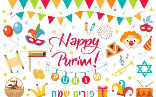Happy Purim carnival set of design elements, icons. Purim Jewish holiday, isolated on white background. Vector illustration clip-art